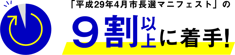 「平成29年4月市長選マニフェスト」の9割以上に着手